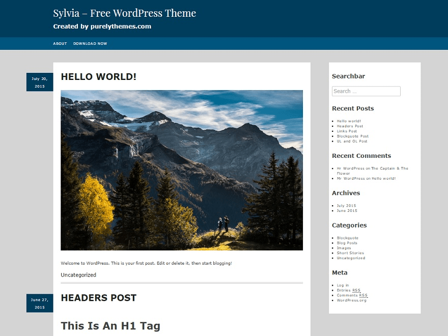 Sylvia free wordpress theme