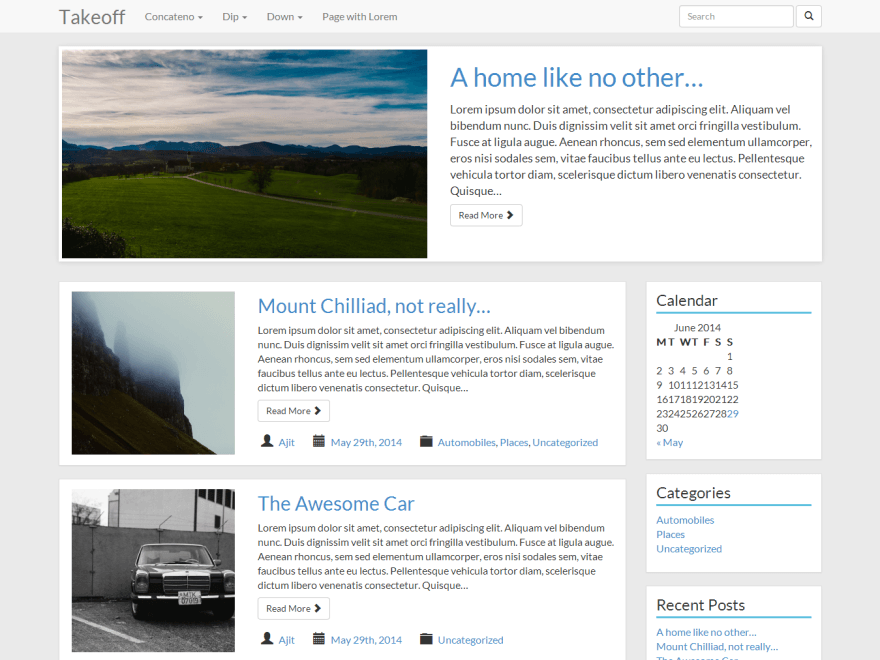 Takeoff free wordpress theme