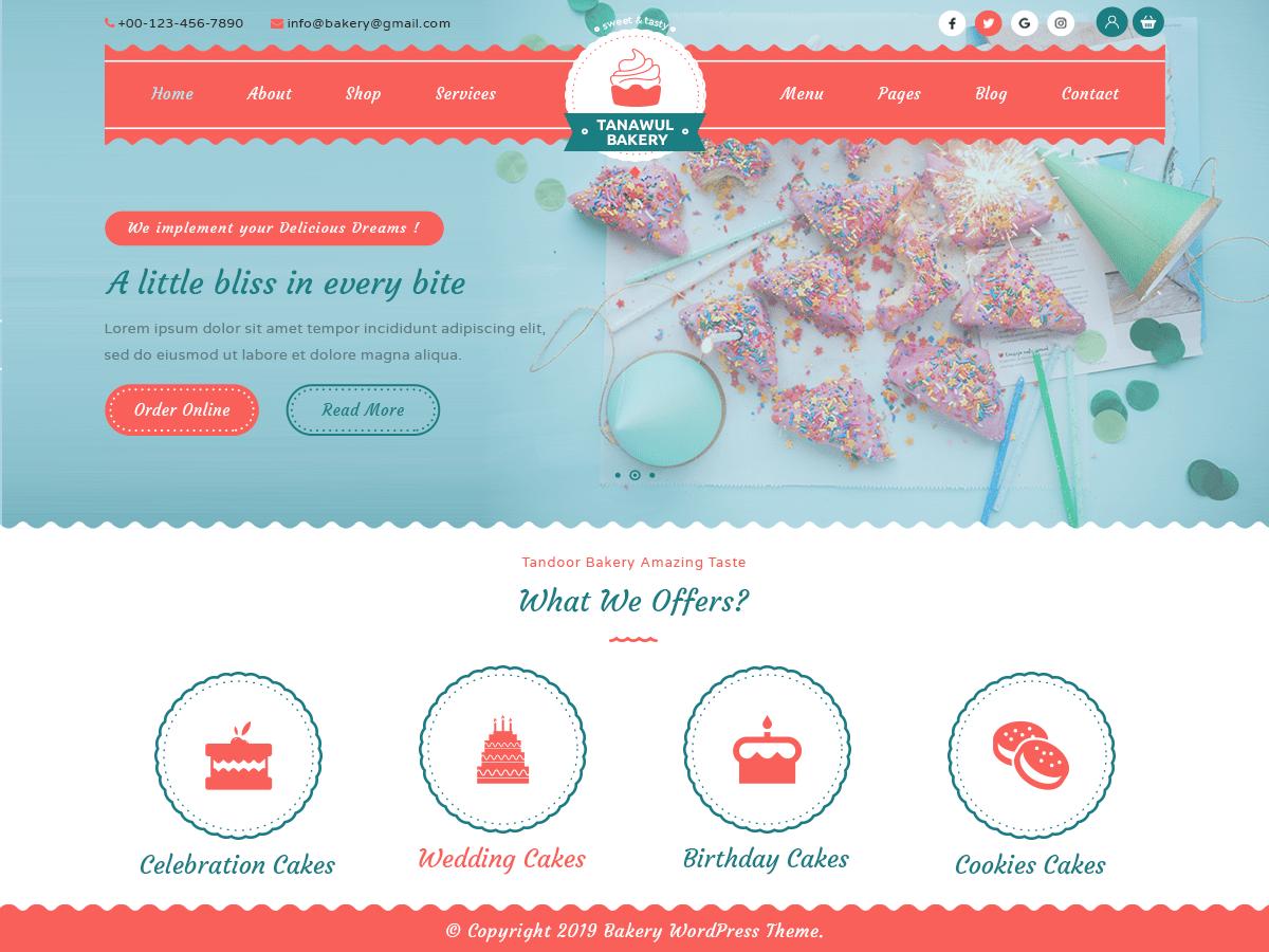WordPress主题:Tanawul Bakery