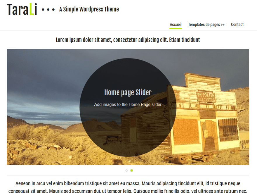 Tarali free wordpress theme