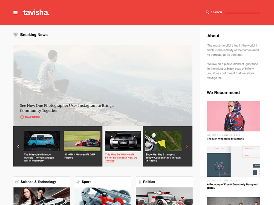 Tavisha free wordpress theme