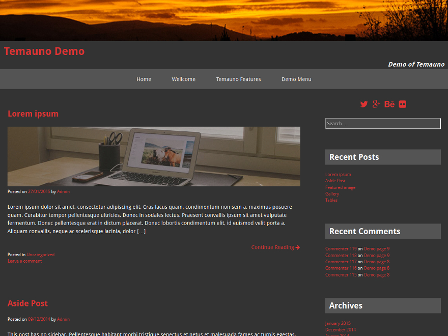 temauno free wordpress theme