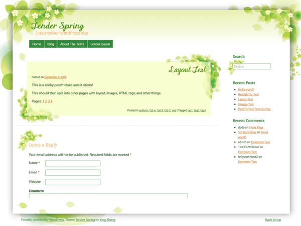 Tender Spring free wordpress theme