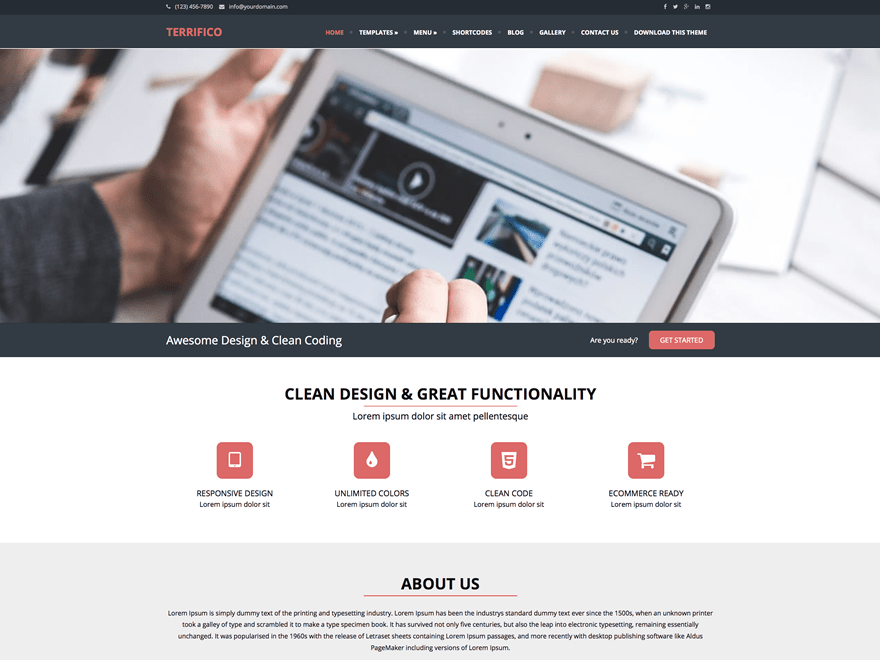 Terrifico free wordpress theme