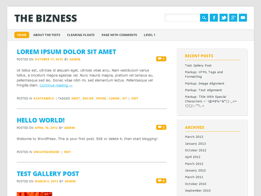 The Bizness free wordpress theme