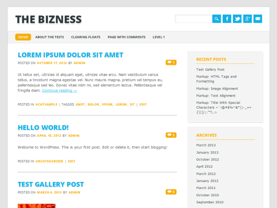 The Bizness wordpress theme