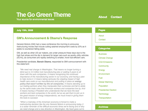 The Go Green Theme wordpress theme