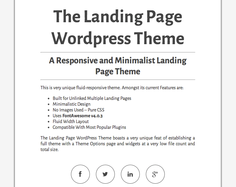 The Landing Page free wordpress theme