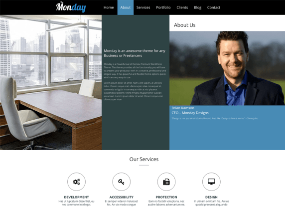 The Monday wordpress theme