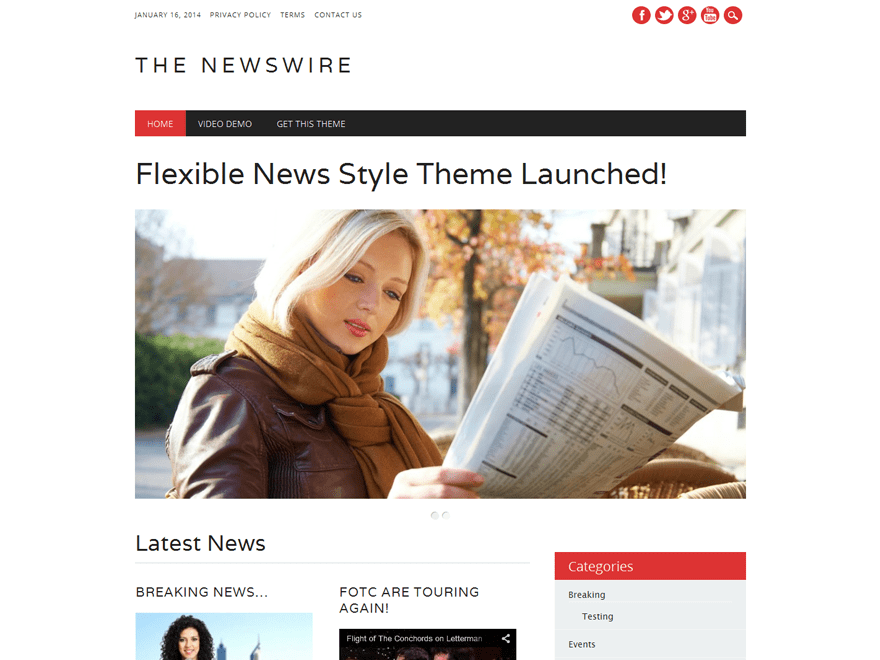 The Newswire free wordpress theme
