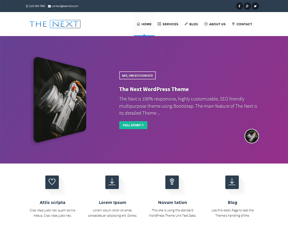The Next free wordpress theme