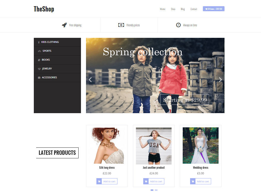 screenshot of theshop free WooCommerce theme