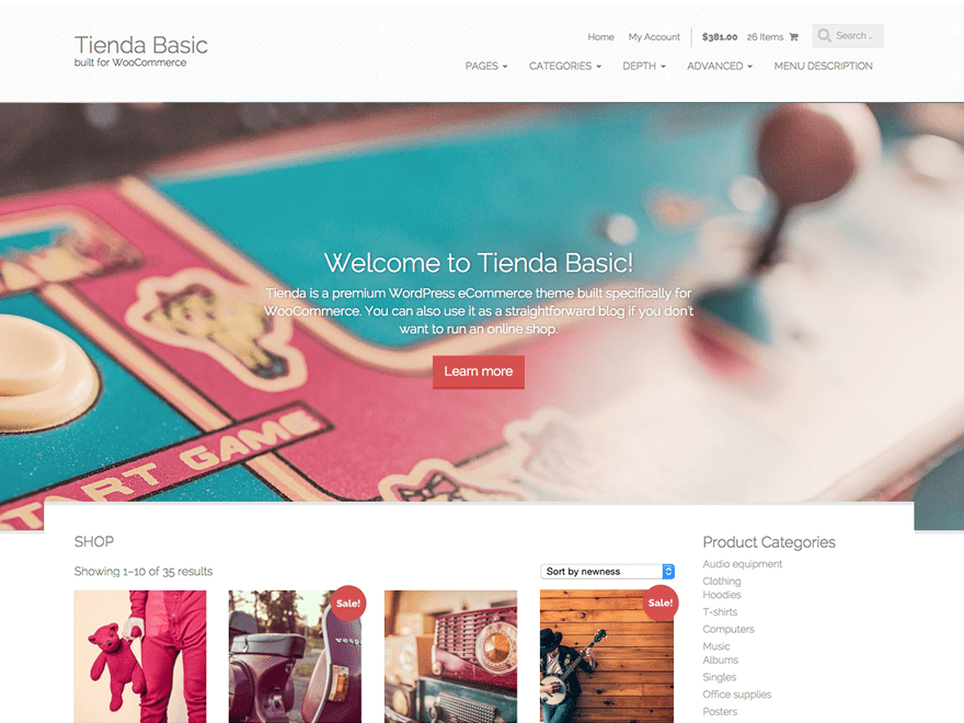 Tienda Basic theme wordpress gratuit