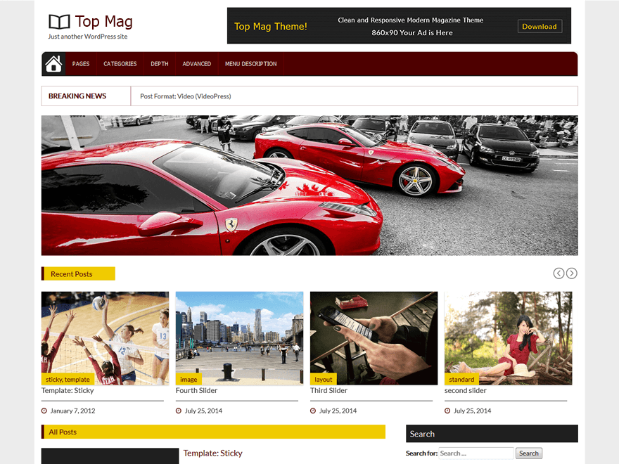 Top Mag free wordpress theme