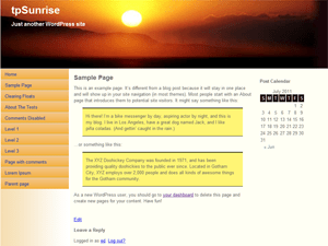 tpSunrise wordpress theme