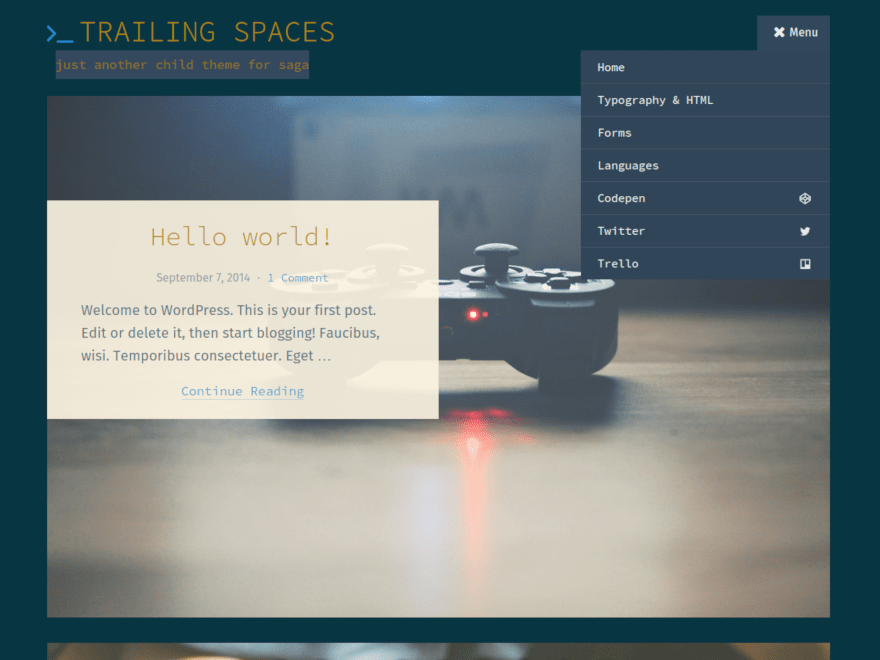 Trailing Spaces free wordpress theme