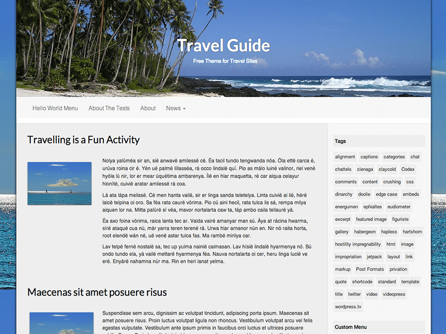 Travel Guide free wordpress theme