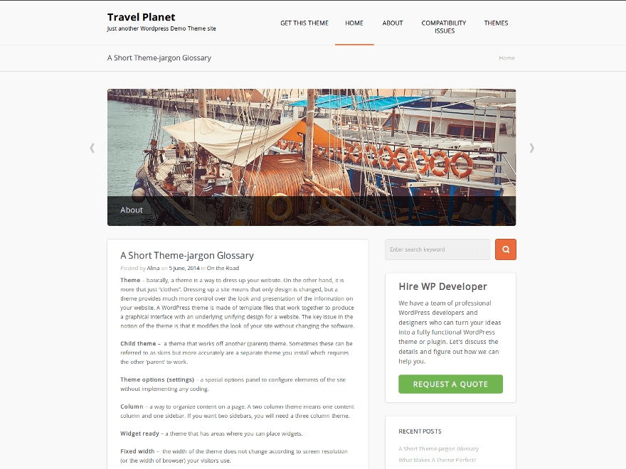 Travel Planet free wordpress theme