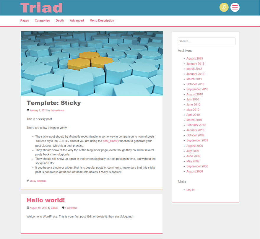 Triad free wordpress theme