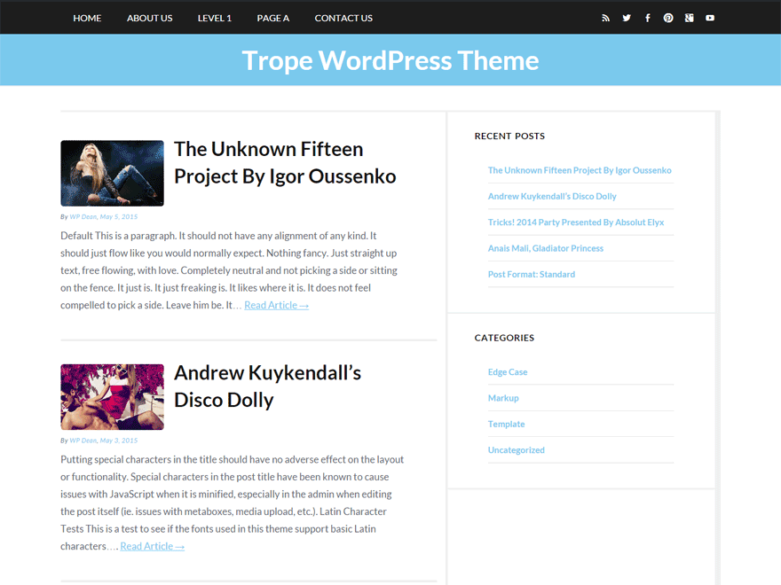 Trope free wordpress theme