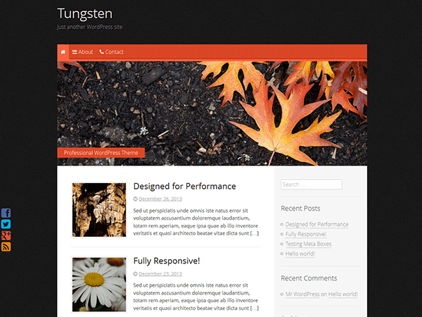 Tungsten free wordpress theme