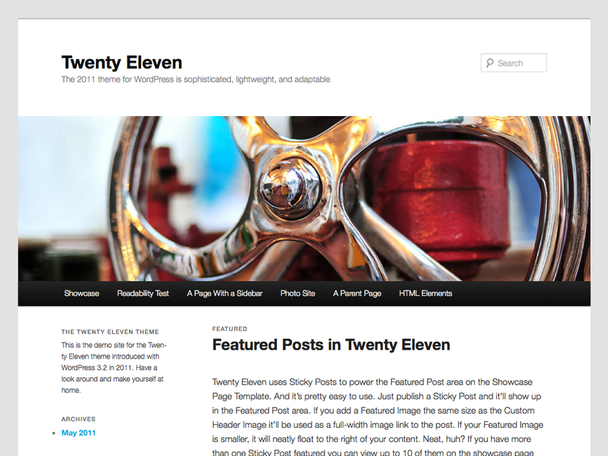 Demo of Twenty Eleven WordPress theme