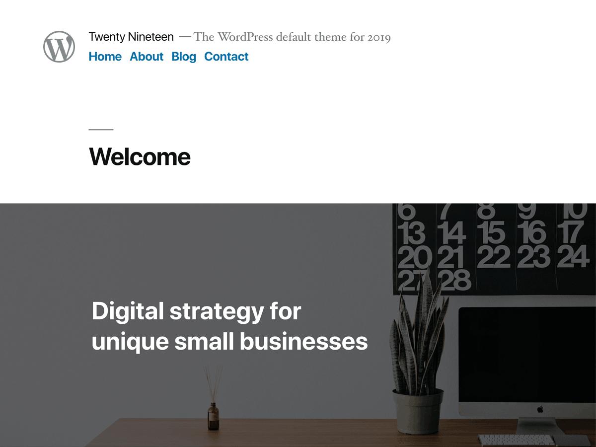 Wordpress šablona zdarma Twenty Nineteen