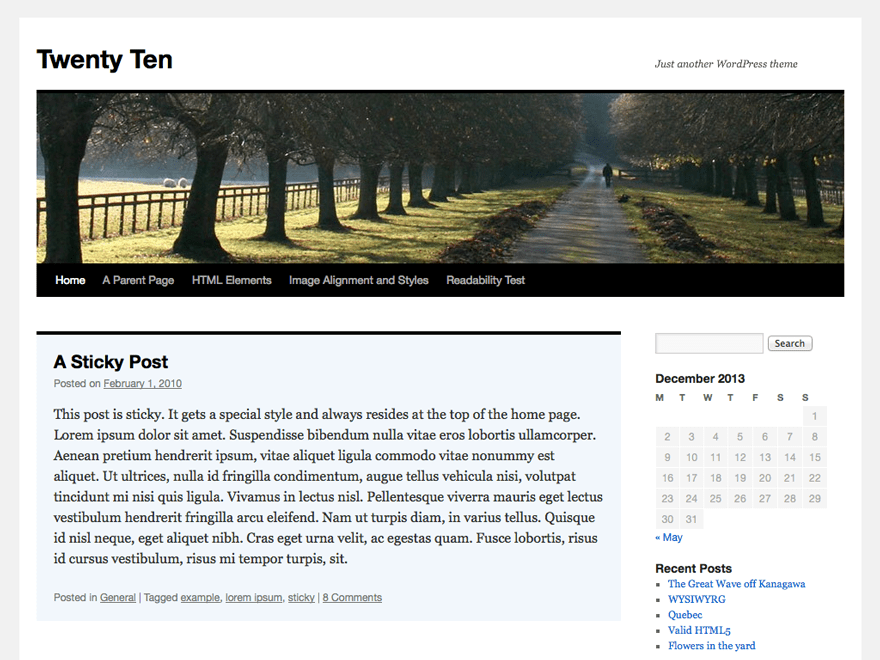 screenshot of Twenty Ten WordPress theme