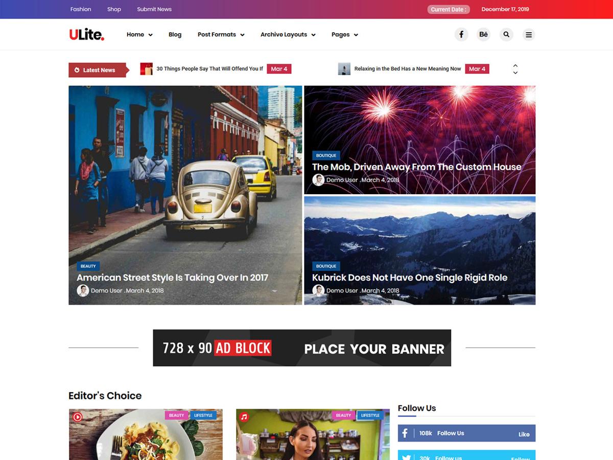 Ultra Lite WordPress Theme Free Download