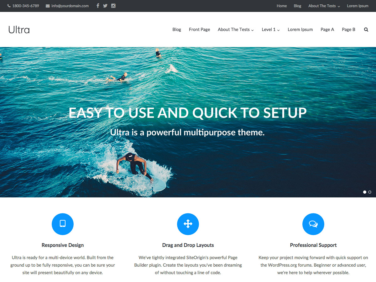 Ultra free wordpress theme