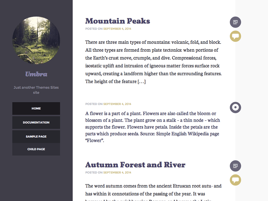 Umbra free wordpress theme