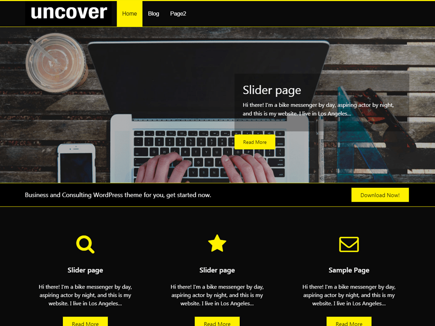Wordpress free themes - uncover