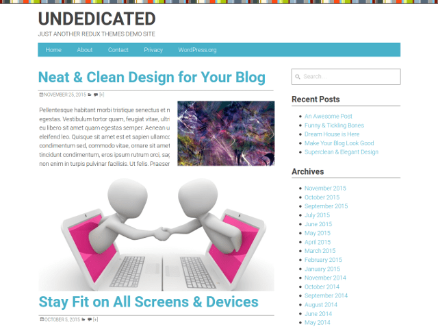 Undedicated free wordpress theme