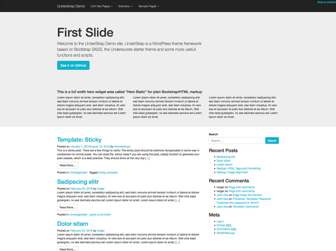 UnderStrap WordPress and Bootstrap theme