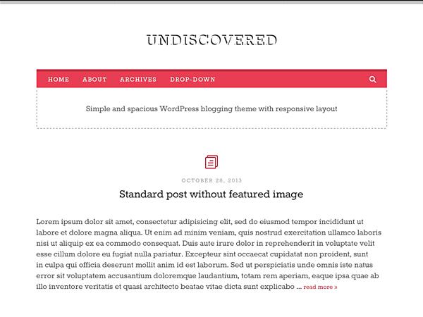Undiscovered free wordpress theme