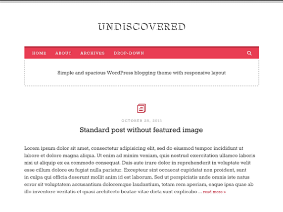 Undiscovered wordpress theme