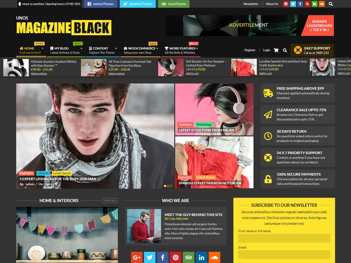 Unos Free Magazine Black WordPress Theme