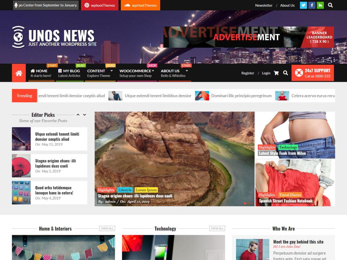 WordPress主题:Unos News