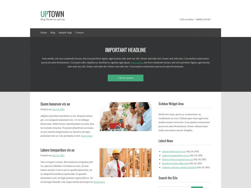 upTown free wordpress theme
