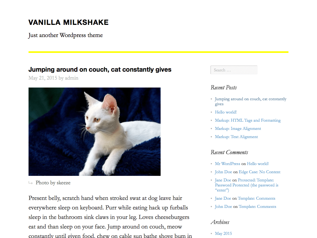 Vanilla Milkshake free wordpress theme