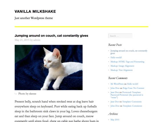 Vanilla Milkshake wordpress theme