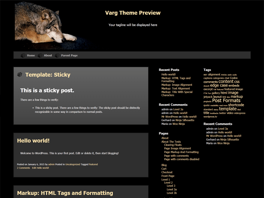 Varg free wordpress theme