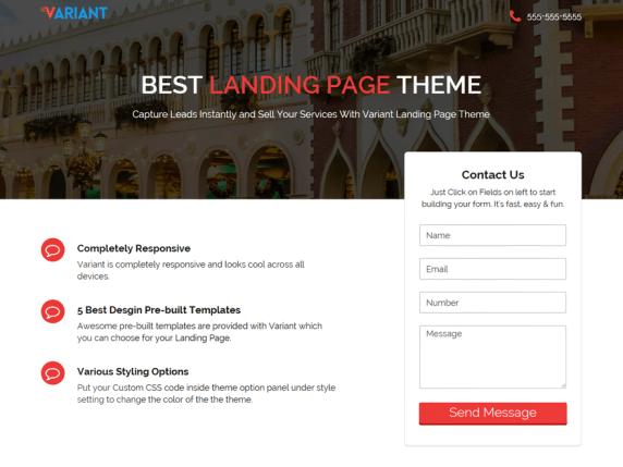 Variant Landing Page wordpress theme