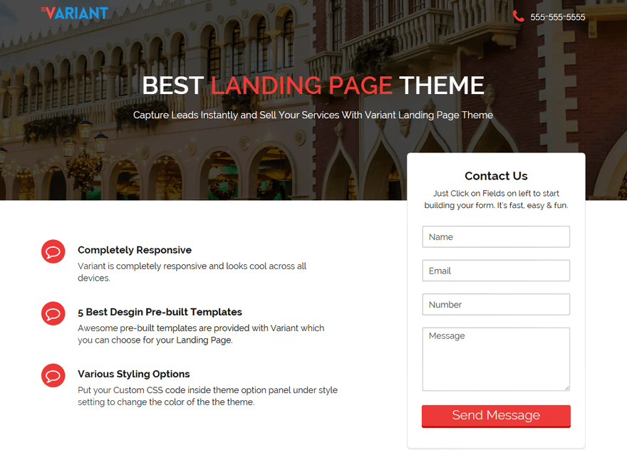 Variant Landing Page wordpress theme