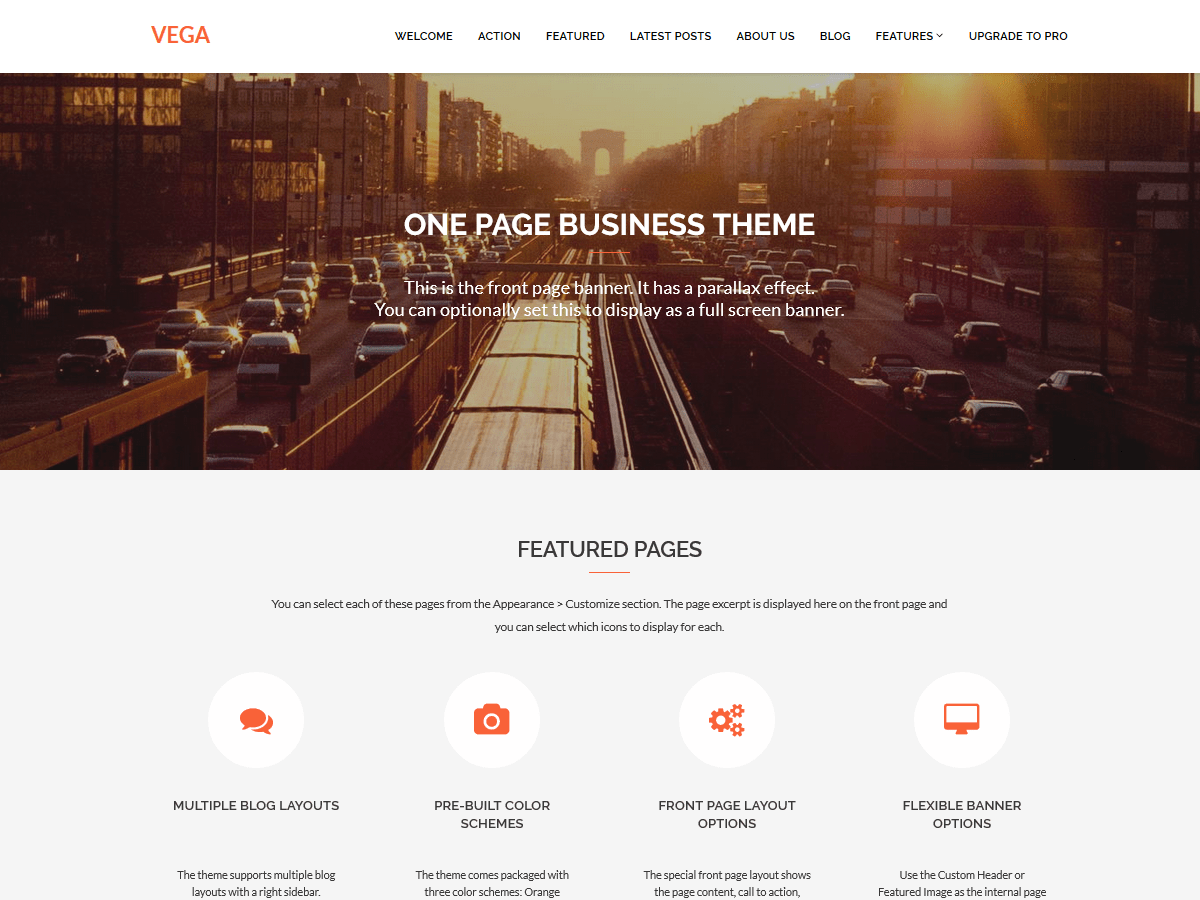 demo of Vega WordPress theme