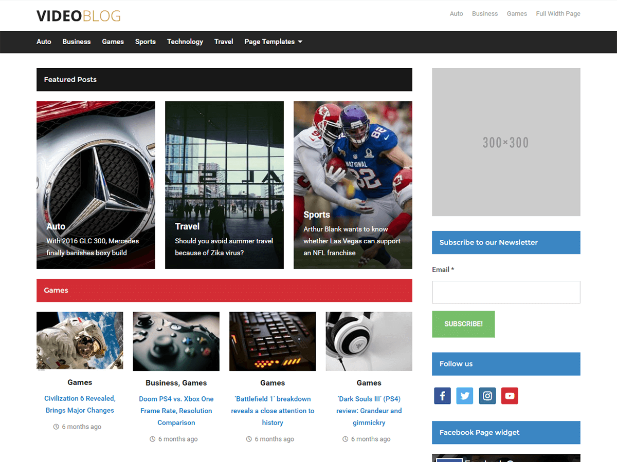 Videoblog — Free WordPress Themes