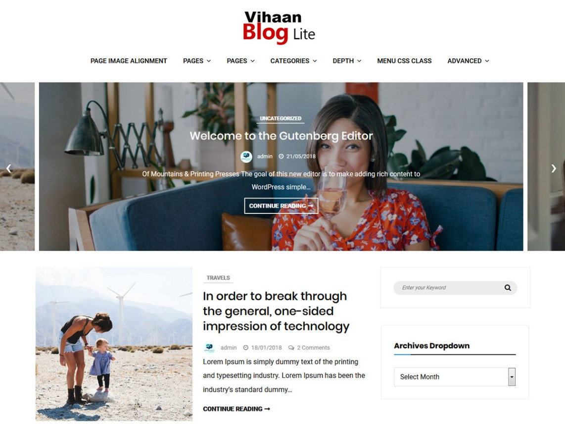 Vihaan Blog Lite Theme Free Download