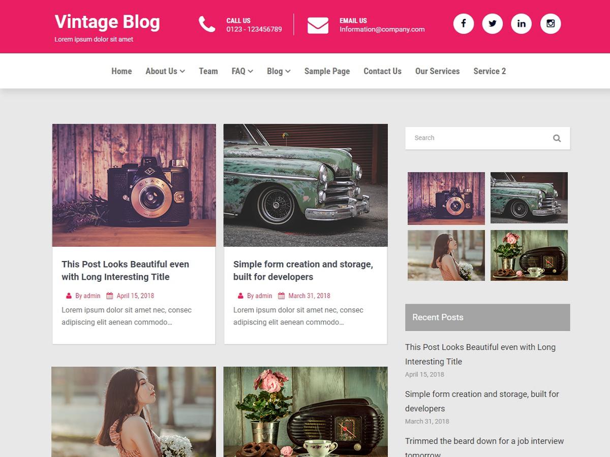 WordPress主题:Vintage Blog