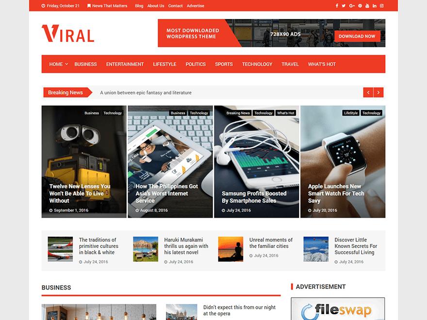 Viral v1.3.0 – 杂志/博客类WordPress主题 – 汉化