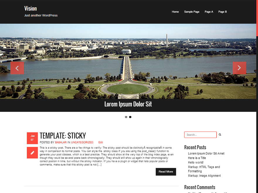 Vision free wordpress theme